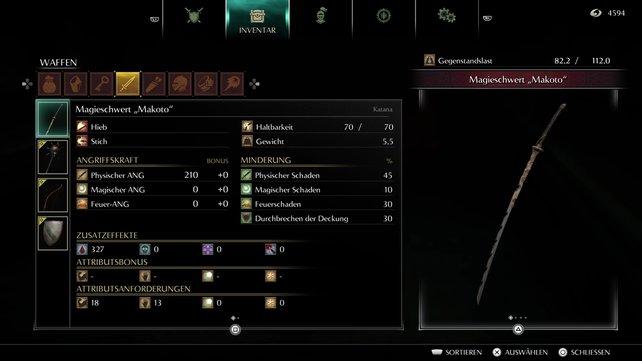 Hier seht ihr die Werte von Makoto in Demon's Souls: Remake.