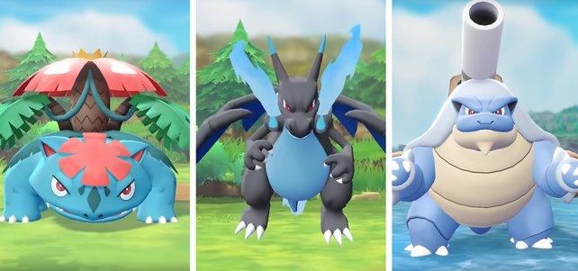 So sehen Mega-Bisaflor, Mega-Glurak X und Mega-Turtok aus.
