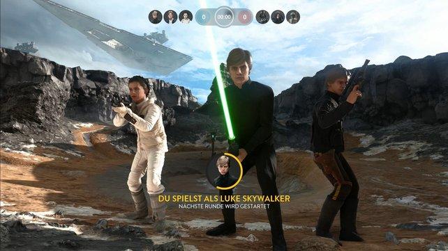 Die Helden Han Solo, Luke Skywalker und Prinzessin Leia