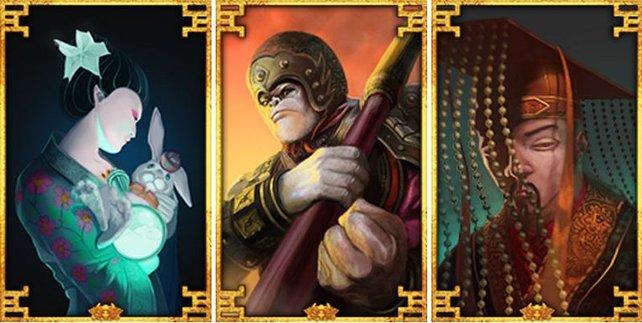 Hier seht ihr Chang'e (links), dann Sun Wukong und zuletzt Hunagdi.