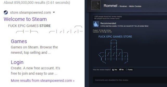 Der vermutliche Hintergrund des verbalen Angriffs: Ein Google-Bot hat die Steam-Seite nach den neuesten Beiträgen gescannt und dabei die Review ausgewählt.