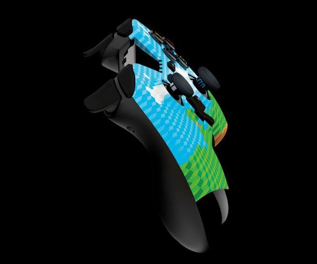 Auch der Pro-Controller von Gioteck kann sich mit Minecraft-Optik sehen lassen.