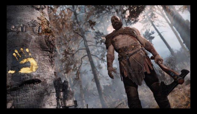 Schwarze Balken sind gar nicht schön. In wenigen Schritten seht ihr Kratos im Vollbild.
