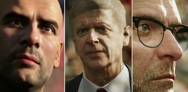 Guardiola, Wenger und Klopp: Die besten Trainer haben es auch in FIFA 17 geschafft.