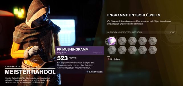 Nach dem Abschluss der Kampagne und Erreichen von Level 50, übergibt euch der Kryptarch netterweise ein Primus-Engramm.