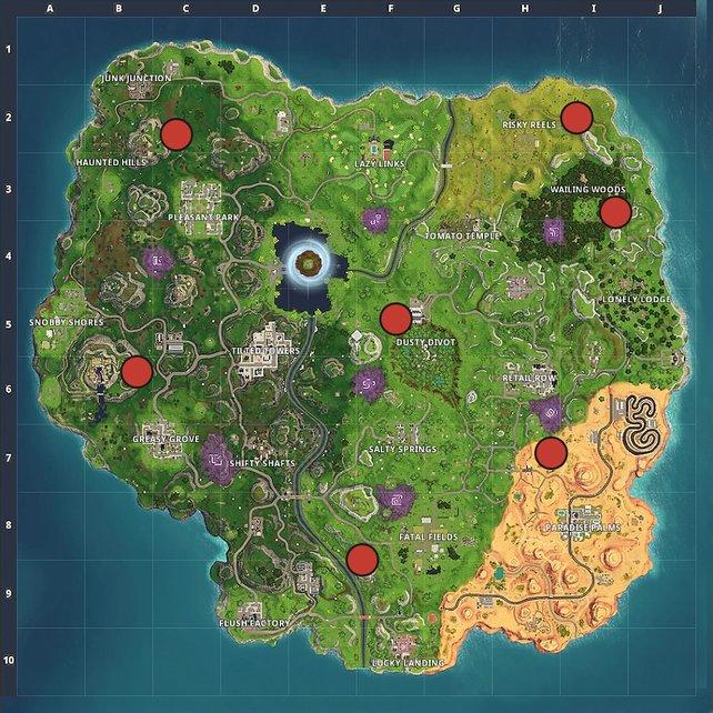 Die Karte zeigt euch sieben Fundorte der Schießstände.