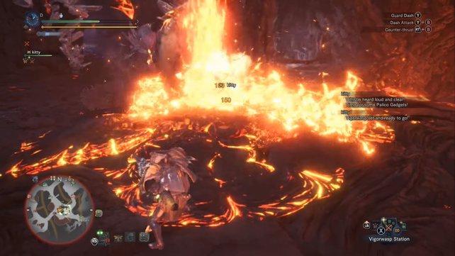 Ihr seht die Schadensanzeige? Lava kann Lavasioth auch verletzen - eigenartig...