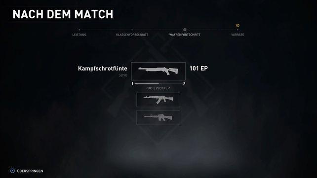 Erst im Endbildschirm seht ihr, wie viele Waffen-XP ihr während der Mission sammeln konntet.