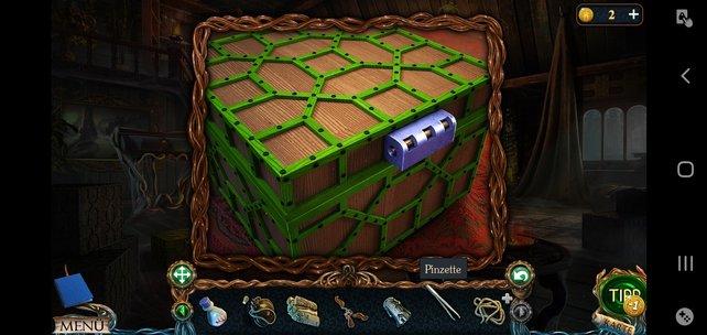 Mit der Pinzette lässt sich diese Kiste einfach öffnen.