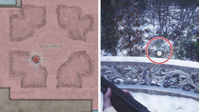 Die Karte zeigt euch, wo ihr nach dem Kraut im Innenhof suchen müsst.