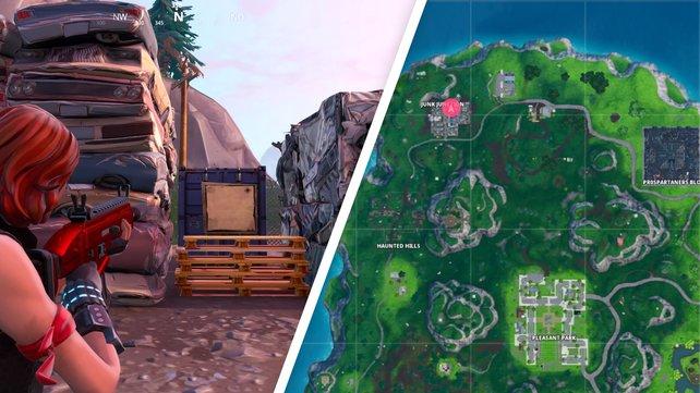 Erst wenn ihr mit dem Brett interagiert, wird die Schatzkarte in Junk Junction sichtbar. Der rosa Punkt rechts zeigt euch den Standort auf der Karte.