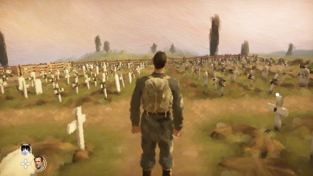 Eine ganz besondere Szene: Vor euch ein Friedhof mit endlos vielen Gräbern der gefallenen Soldaten.