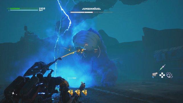 In Phase 2 wird Jumboknäuel aggressiv und greift mit seiner Elektro-Peitsche an.