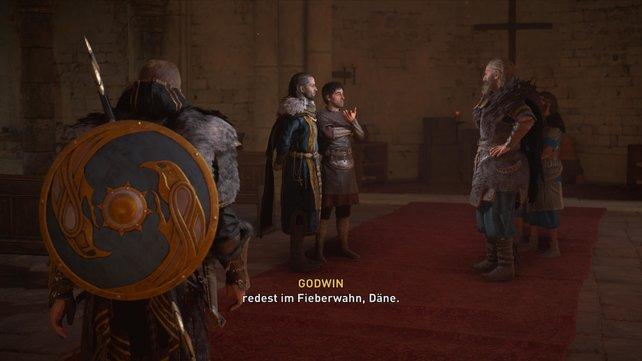 Gudrum und König Aelfred verhandeln darüber, ob die Nordmänner aus Westseaxe abziehen werden oder weiter plündern.