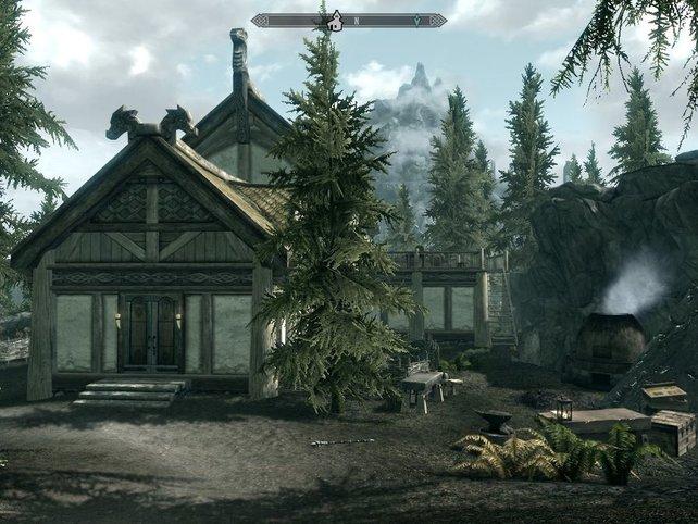 Haus Seeblick: Wollt ihr bei Skyrim ein Haus bauen, ist das eine Möglichkeit. (Quelle: http://de.elderscrolls.wikia.com)