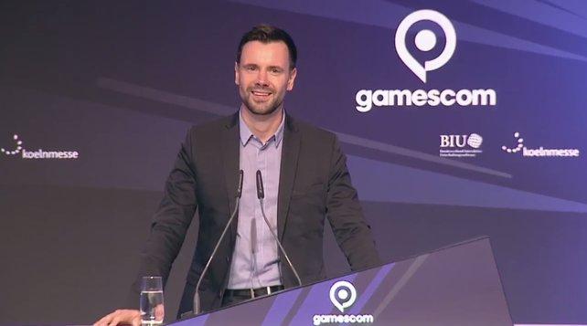 Felix Falk, Geschäftsführer der BIU bei seiner Begrüßung zur gamescom 2017.