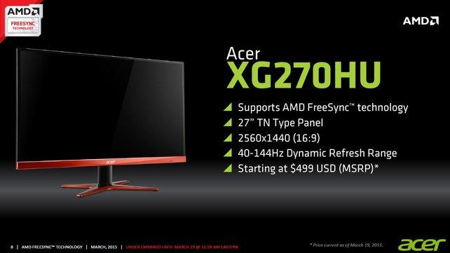 """Der LG XG270HU ist ein 27"""" großer FreeSync-Monitor mit einer WQHD Auflösung und 144 HZ - Kostenpunkt: 550 Euro"""