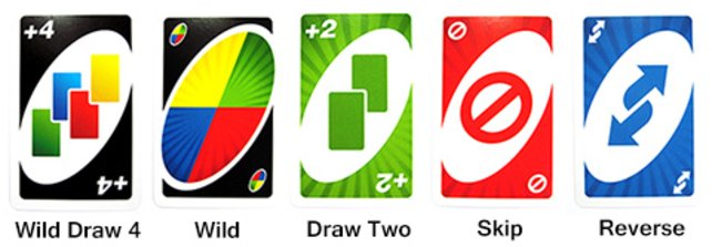 Von Links nach Rechts:Zieh Vier Farbenwahlkarte, Farbenwahlkarte, Zieh zwei Karte, Aussetzen Karte, Retour Karte