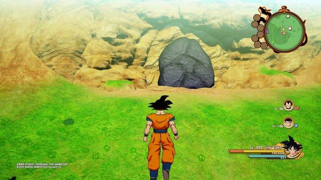 Diese Felsbrocken sehen sehr auffällig aus und können mit Kreis/B zerstört werden.