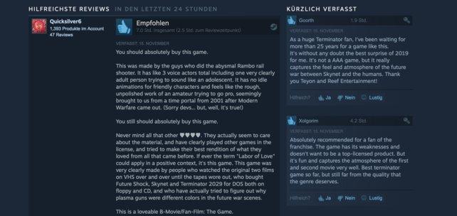 Auf Steam sprechen die Reviews zu Terminator: Resistance hingegen eine ganz andere Sprache.
