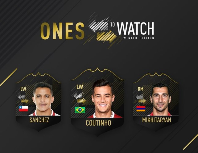 """Die ersten Karten im """"Ones to Watch""""-Event sind da: Sanchez, Coutinho und Mkhitaryan."""