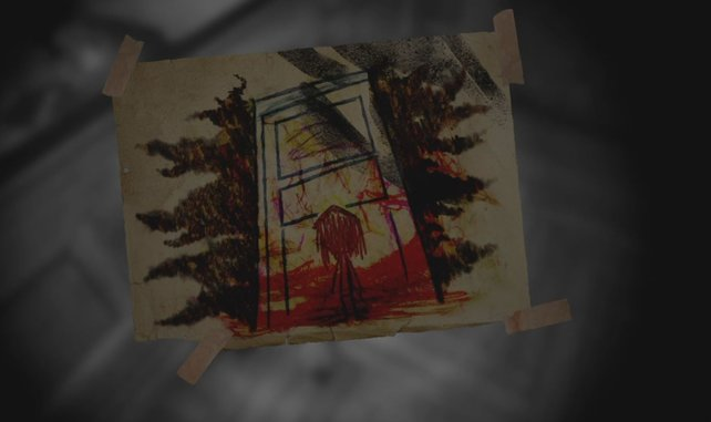 Schaut auf den Tisch vor der verriegelten Tür - dort findet ihr dieses Kunstwerk.