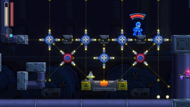 Über Mega Mans Kopf seht ihr die fast gefüllte Gear-Anzeige.