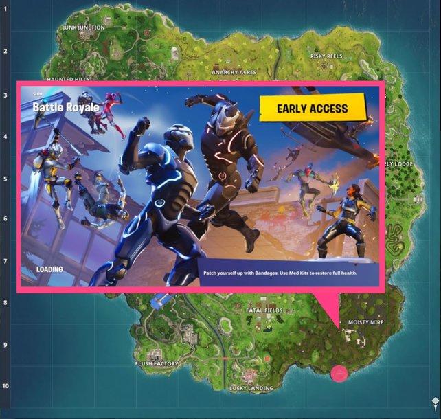 Blockbuster-Ladebildschirm aus Woche 5: Auf der Mauer im Hintergrund ist ein Graffiti zu sehen, das den Krebs mit einem Battle-Stern über dem Kopf zeigt. Dort müsst ihr nach dem Schatz suchen!