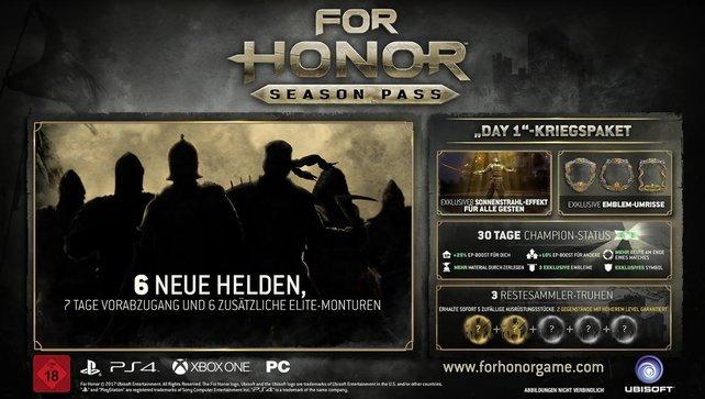 Hier seht ihr noch einmal die Inhalte, die euch der Season Pass von For Honor bietet.