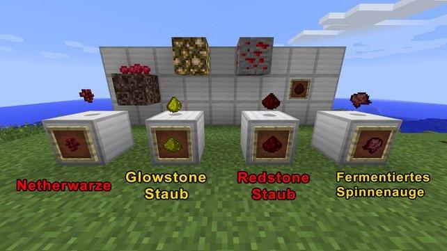 Hier eine Abbildung der wichtigsten Tränkezutaten in Minecraft.