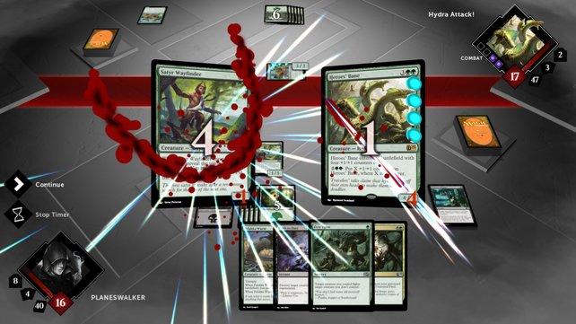 Kartenspiel mit komplexem Regelwerk: Der Satyr muss mächtig einstecken.