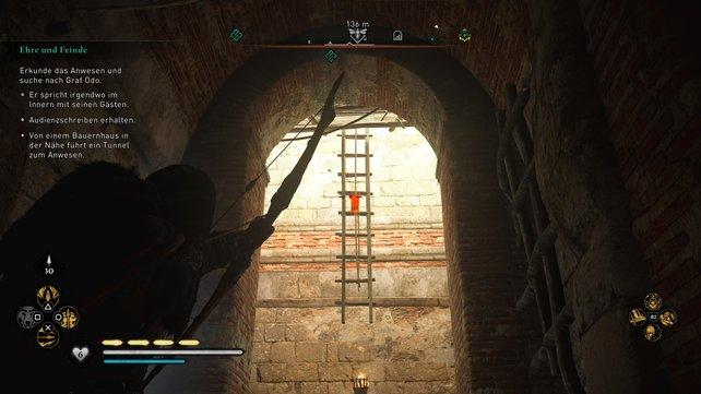Seid ihr bei den Leitern angekommen, dann befindet ihr euch direkt unter Graf Odos Anwesen.