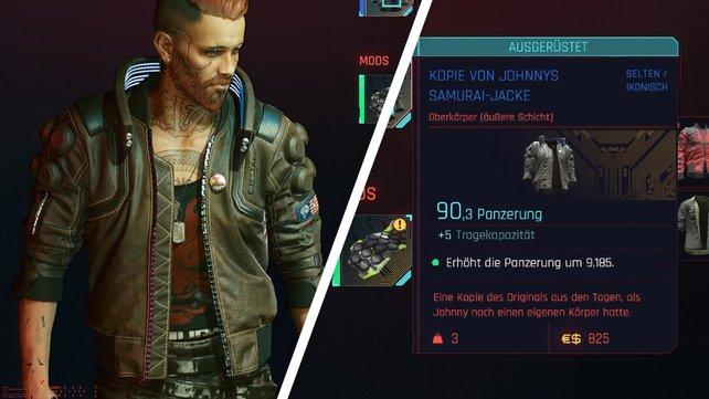 Die Werte von Johnnys Samurai-Jacke.