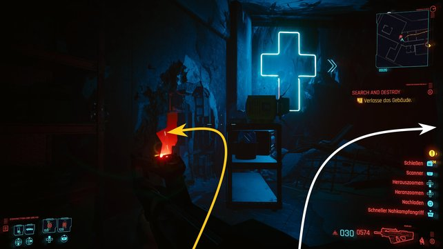 Bei blauen Neonkreuz angekommen, könnt ihr rechts abbiegen, um direkt zu entkommen oder nach links gehen, um Takemura zu retten.