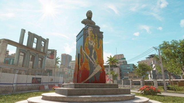 Diese imposanten Gabriel-Statuen dürft ihr mit Graffiti verschönern.