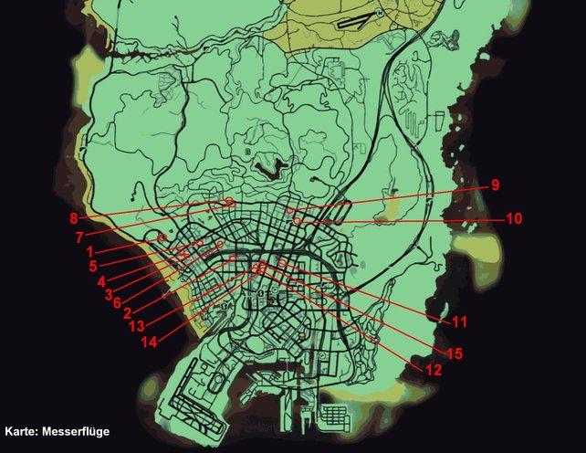 """Hier die Map/Karte der """"Messerflug""""-Herausforderungen. Zum Vergrößern auf die Map klicken."""