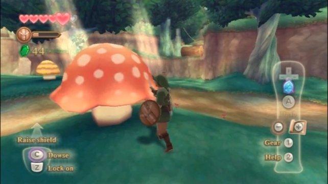 Das Kyu versteckt sich gerne hinter Pilzen. Ihr müsst es dreimal aufspüren, damit es mehr verrät.
