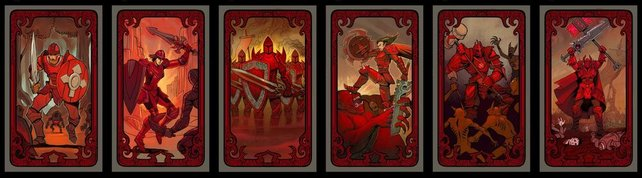 Alle Macht-Schicksalskarten in einer Reihe.