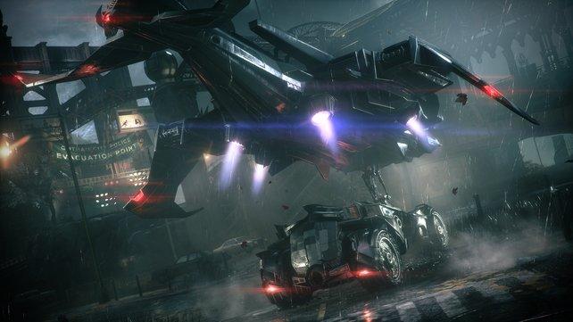 Fahrbar: Zum ersten Mal könnt ihr mit dem Batmobil durch Gotham City rasen.