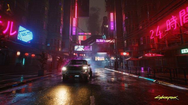 Selbst mit der minimalen Systemanforderung, strotzt Night City nur so vor Details. (Quelle: CD Projekt Red)