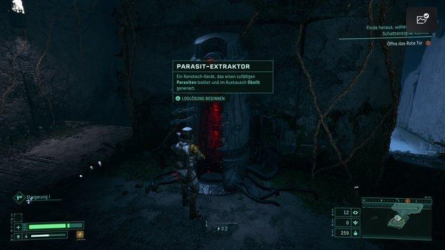 Nutzt den Parasit-Extraktor, um einen zufälligen Parasiten loszuwerden.