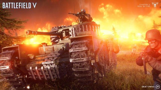 Die Verstärkung durch einen Panzer will hart erkämpft sein.