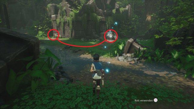 Hebt mit den Rott den Felsen rechts auf und setzt ihm beim Zielpunkt links ab.