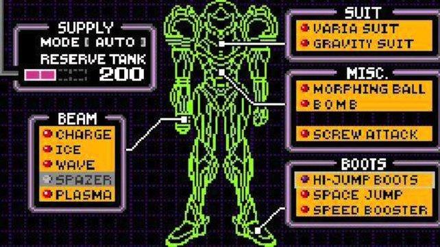 So sieht das Menü von Super Metroid auf dem SNES aus. Vergleicht es mal mit dem Patch.