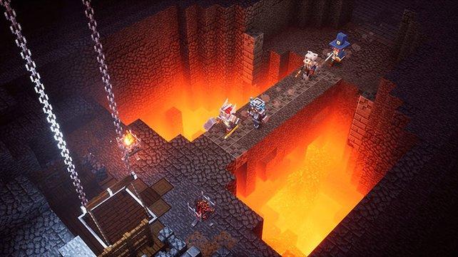 Im Multiplayer von Minecraft Dungeons kommt es auf die richtige Absprache und die Bündelung aller Kräfte an.