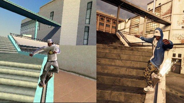 Im Vergleich: Links seht ihr das originale Tony Hawk's Pro Skater 2. Rechts das Remake.