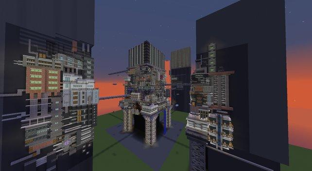 Das Cyberpunk-Gebilde in Minecraft - noch fehlt hier die entsprechende Neon-Beleuchtung.