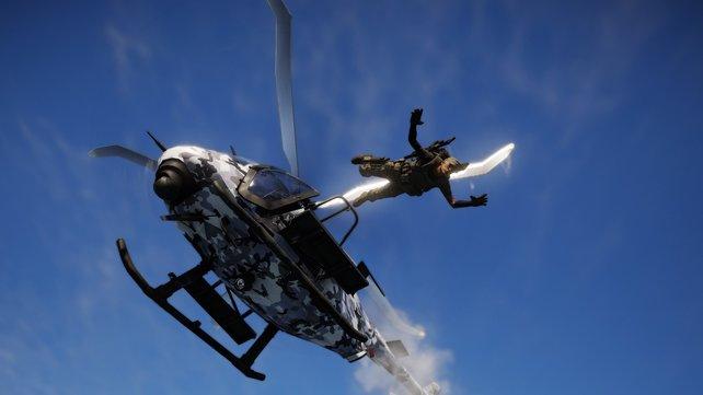 Der Sprung mit dem Parachute aus dem Helikopter - Just Cause lässt grüßen.