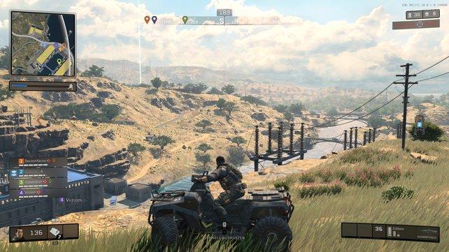 Das große Areal befahrt ihr auch auf vier Rädern, um zur Zielzone zu gelangen oder Feindfeuer zu entkommen.
