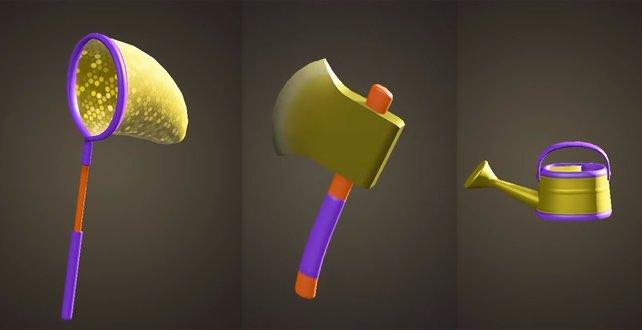 So sehen der Goldkescher, die Goldaxt und die Goldene Gießkanne aus.